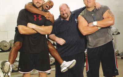 Chris Snee, Shaun O'Hara, and Tiki Barber with Joe Carini.